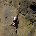 Climber at Cow and Calf Rocks  by Tom Curtis