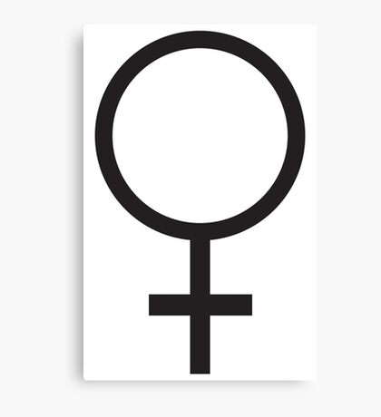 FEMALE, WOMEN, WOMAN, SHE, Venus symbol, FEMININE, Gender symbol, Sex, sex of an organism, Black  Canvas Print