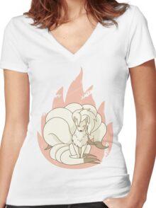 Ninetales - Fire Pokemon Women's Fitted V-Neck T-Shirt