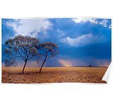 Storm over Mitchell Grass plains, western Queensland Poster