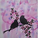 Watercolour and acrylic birds with cherry blossom sakura by cathyjacobs