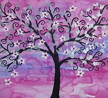 Watercolour acrylic tree of life with cherry blossom sakura 2 by cathyjacobs