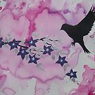 Watercolour acrylic pink birds with tree branches 3 by cathyjacobs