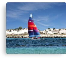 Sailing Along The Island Canvas Print