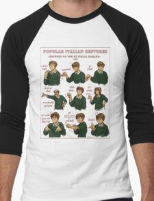 Popular Italian Gestures brought to you by Italia Romano Men's Baseball ¾ T-Shirt