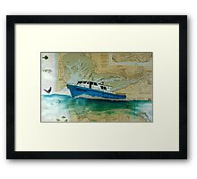 Advantage Westport Charter Fishing Boat Nautical Map Cathy Peek Framed Print