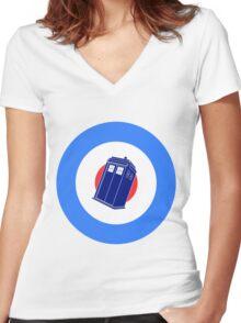 TARDIS Mod Target Women's Fitted V-Neck T-Shirt