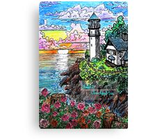 lighthouse and roses Canvas Print