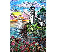 lighthouse and roses Photographic Print