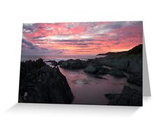 Woolacombe Bay Fire Sky North Devon sunset Greeting Card