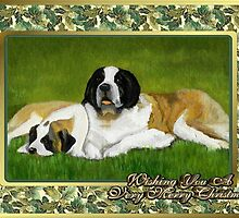 Saint Bernard Dog Christmas by Oldetimemercan