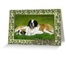 Saint Bernard Dog Christmas Greeting Card