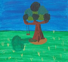 Painting for my daughter's room - Tree with swing by reujken
