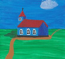 Painting for my daughter's room - church by reujken