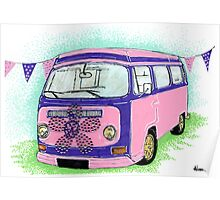 Pink and Purple Campervan Poster