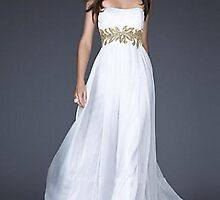 Strapless White Chiffon Dress with Gold Waist Decor,Sexy Prom Dresses    by jackculun