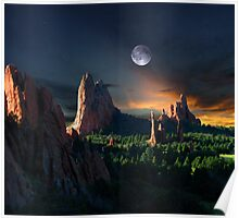 Morning Light At The Garden Of The Gods With Moon Poster