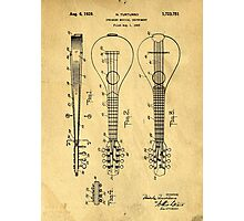 Stringed Musicial Instrument Patent Art Blueprint Drawing Photographic Print