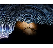 Star trails over Mount Rushmore National Memorial Photographic Print