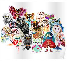 Owls collage Poster