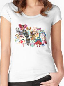 Owls collage Women's Fitted Scoop T-Shirt