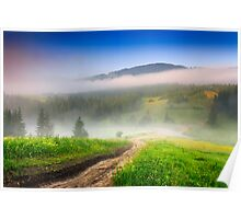 crossroads in the morning mist in mountains Poster