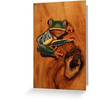 Pyrography: Red Eyed Tree Frog Greeting Card