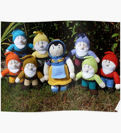 Hand Knitted Snow White and her seven dwarfs Poster