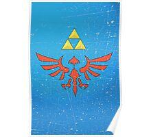 Vintage Look Zelda Link Hylian Shield Graphic Poster