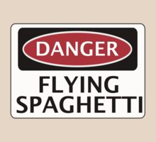 DANGER FLYING SPAGHETTI, FUNNY FAKE SAFETY SIGN T-Shirt