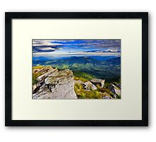 giant stones on the top of mountain meadowslandscape Framed Print