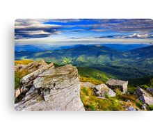 giant stones on the top of mountain meadowslandscape Canvas Print