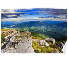 giant stones on the top of mountain meadowslandscape Poster