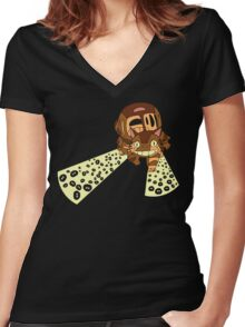 Follow the dust bunnies Women's Fitted V-Neck T-Shirt