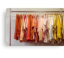 Clothing Rack With Shirts Canvas Print