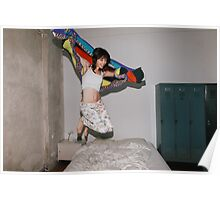 A Woman Jumping on Her Bed Poster