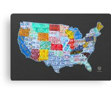 License Plate Map of The United States On Gray Canvas Print