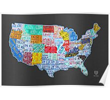 License Plate Map of The United States On Gray Poster