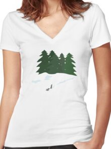 December scene Women's Fitted V-Neck T-Shirt