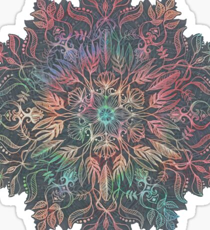 Winter Sunset Mandala in Charcoal, Mint and Melon Sticker