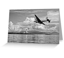 Shackleton over Lismore lighthouse B&W Greeting Card