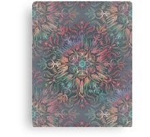 Winter Sunset Mandala in Charcoal, Mint and Melon Canvas Print