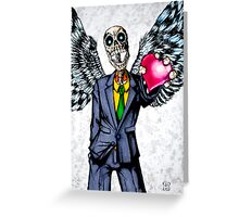 Suit wearing, winged, skeleton holding his heart.... Greeting Card