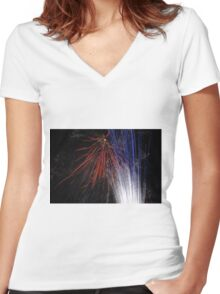 Night light sparkles a colourful delight Women's Fitted V-Neck T-Shirt