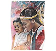 Young Polynesian Mother with Child Poster
