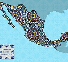Mosaic Tile Map Of Mexico by TortugaDesigns