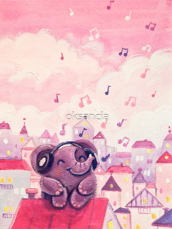 Music Lover - Rondy the Elephant listening to music on the roof by oksancia