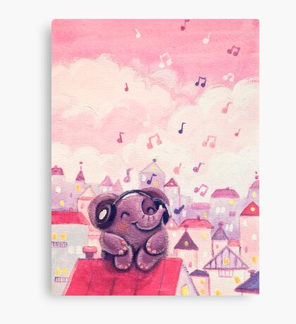 Music Lover - Rondy the Elephant listening to music on the roof Canvas Print