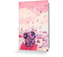 Music Lover - Rondy the Elephant listening to music on the roof Greeting Card