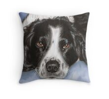 Lulu on blue Throw Pillow